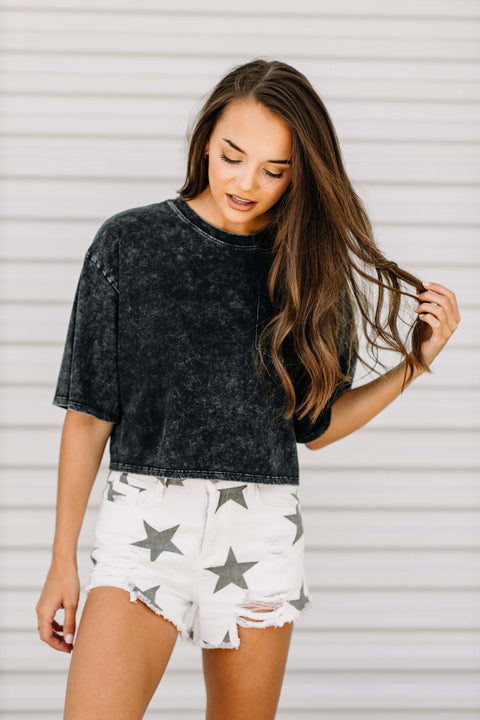 Vintage Wash Crop Top: Black - Shop Amour Boutique Online