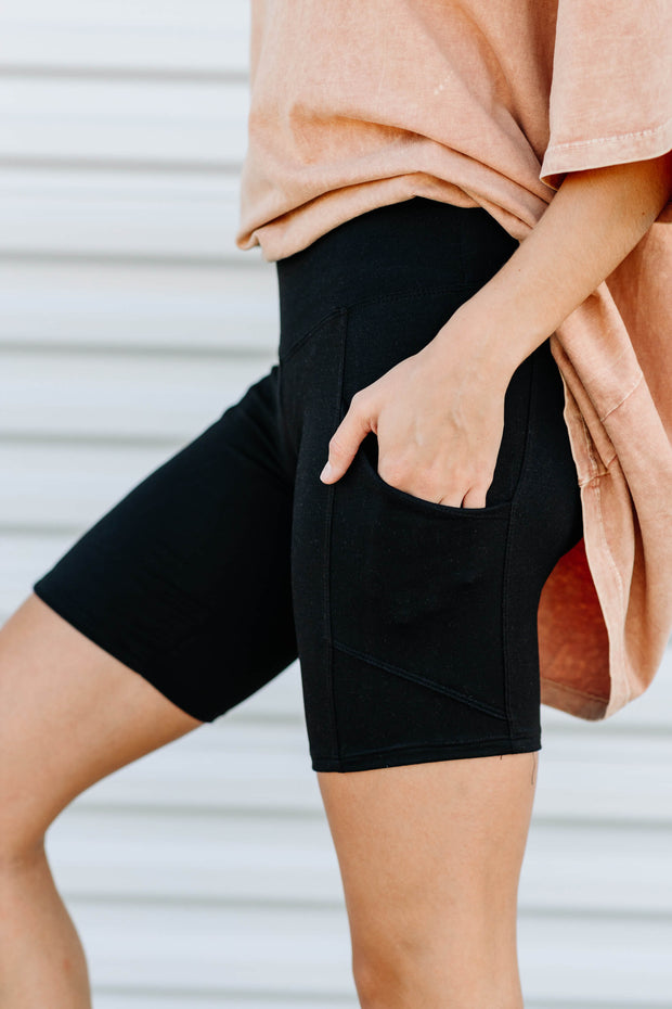 Biker Shorts with Side Pockets - Shop Amour Boutique Online