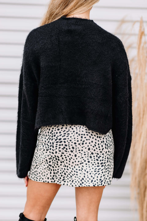 Warm & Fuzzy Cropped Sweater: Black
