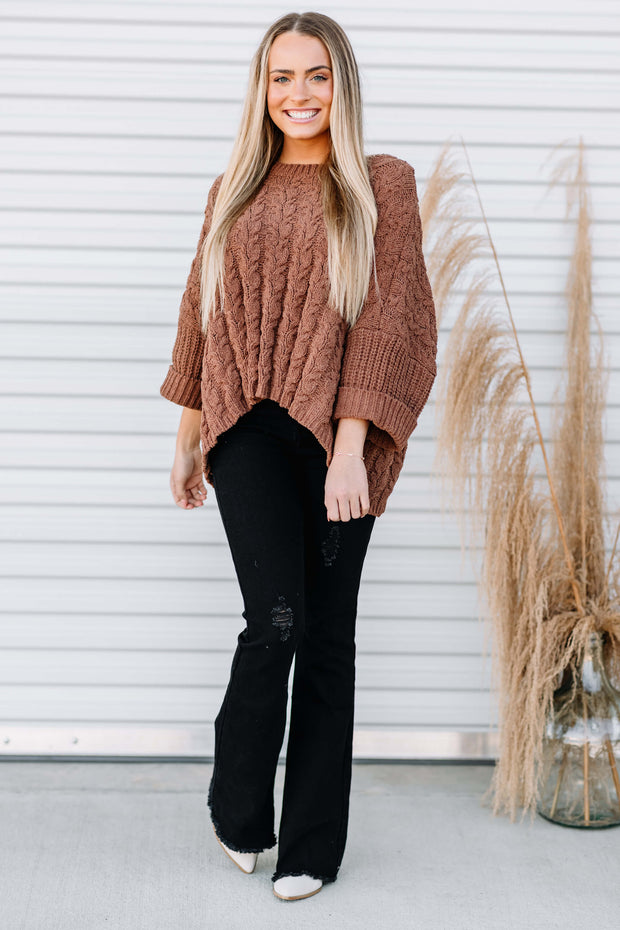 Cozy Chunky Cable Knit Sweater: Russet