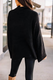 Just for You Knit Sweater: Black
