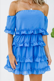 Marina Blue Ruffle Dress - Shop Amour Boutique Online