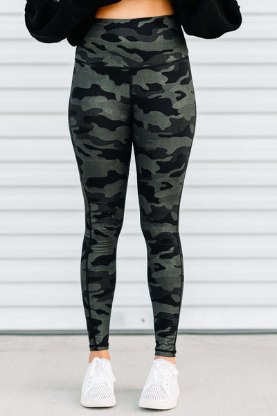 Camo Metallic Print Leggings - Shop Amour Boutique Online