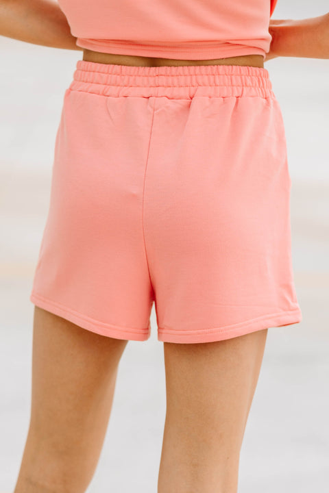 Just Lounging Coral Shorts - Shop Amour Boutique Online