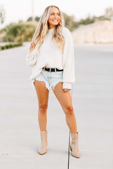 Everywhere You Go Sweater: Cream - Shop Amour Boutique Online