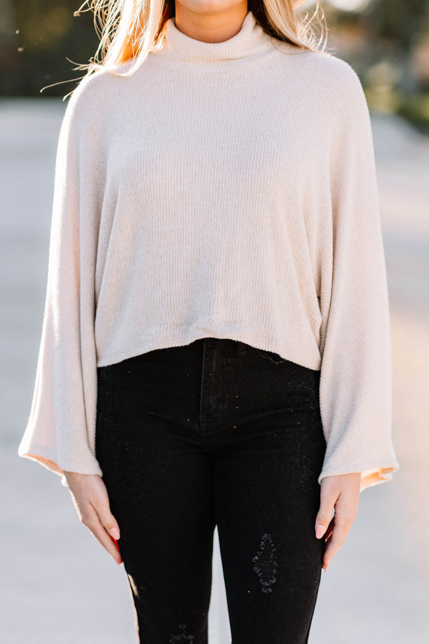 Out of My Way Knit Top: Oatmeal