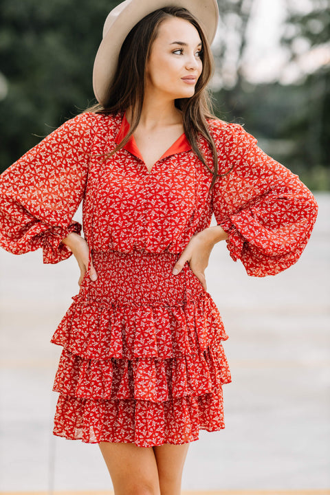 Falling for Florals Smocked Dress: Rust - Shop Amour Boutique Online