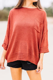 All of my Days Knit Pocket Sweater: Rust