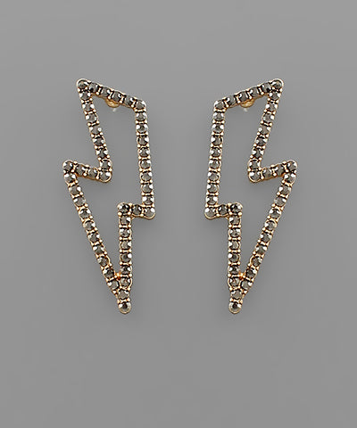 Pave Lightning Frame Earrings: Hematite - Shop Amour Boutique Online