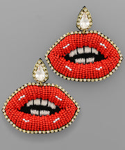 Beaded Lip Earrings: Red - Shop Amour Boutique Online