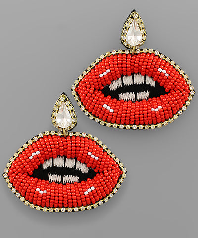 Beaded Lip Earrings: Red
