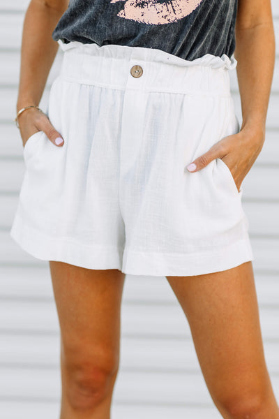 Easy Does it White Paper Bag Shorts - Shop Amour Boutique Online