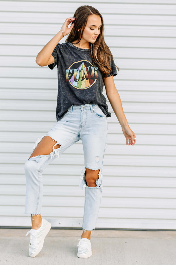 Ripped Mid Rise Mom Jeans - Shop Amour Boutique Online