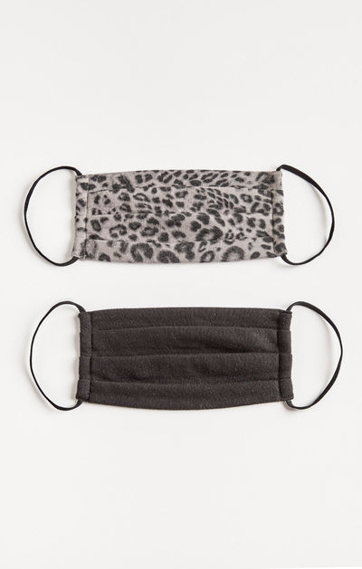 Z Supply Grey Leopard Reuseable Face Mask (2-pack) - Shop Amour Boutique Online