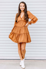 Here for the Holidays Dress: Camel