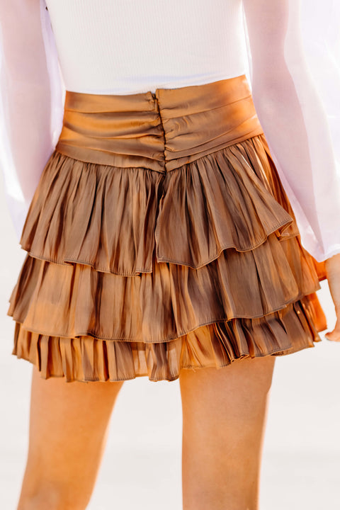 Ready to Ruffle Skirt: Bronze