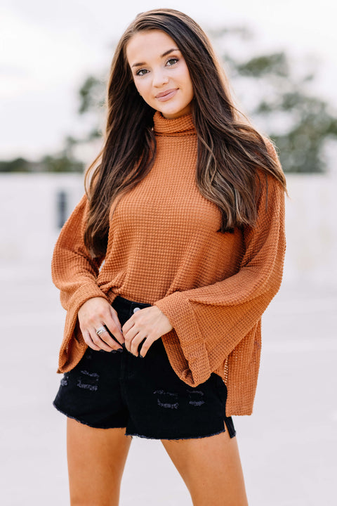 Gotta Run Turtle Neck Waffle Top: Caramel