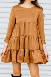 Loving You Babydoll Dress: Camel