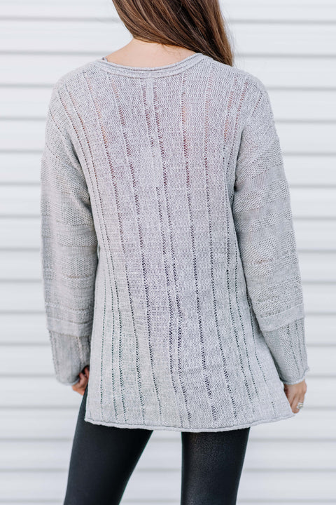 Sweater Weather Knit Sweater Tunic: Cloud
