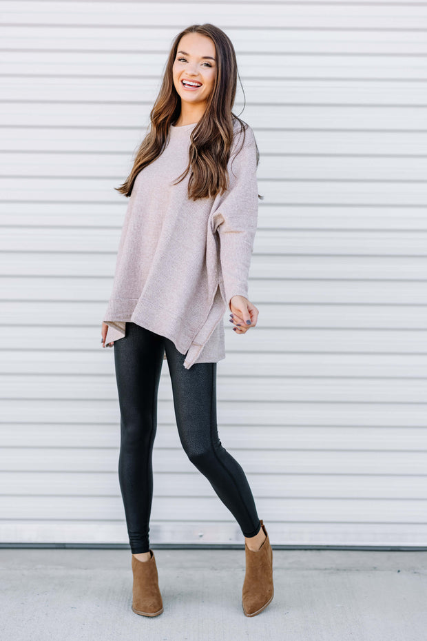 Warm and Cozy Knit Thermal Top: Taupe