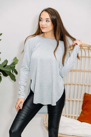 Go with the Flow Knit Top: Heather Grey