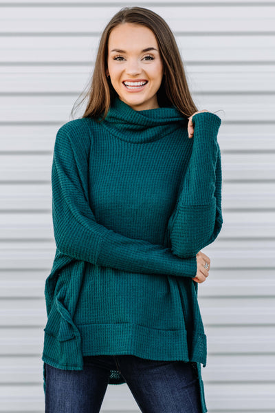 Lets Get Cozy Waffle Top: Hunter Green