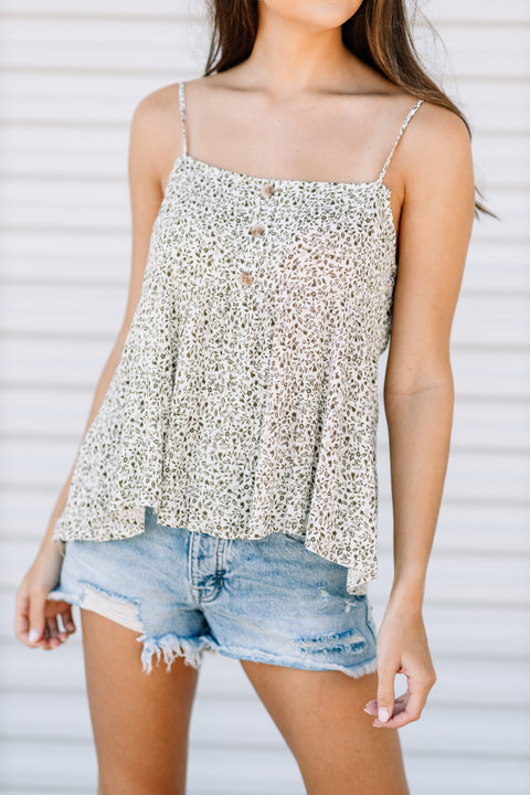 Olive Floral Tank - Shop Amour Boutique Online