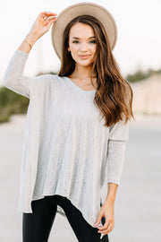 Forever Yours Knit Top: Grey