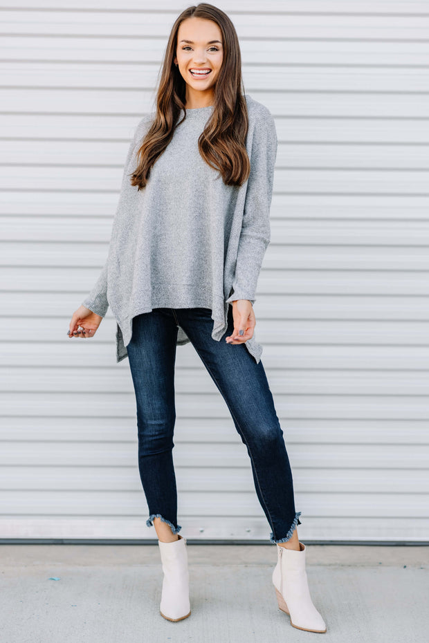 Warm and Cozy Knit Thermal Top: Heather Grey