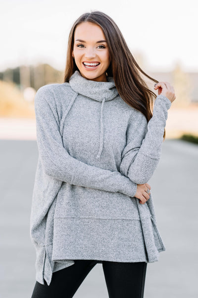 Cozy Nights Thermal Cowl Neck Top: Heather Grey