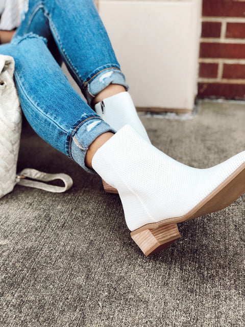 Emilia White Perforated Slim Ankle Bootie