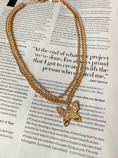 Layered Chain Hammered Butterfly Pendant Necklace