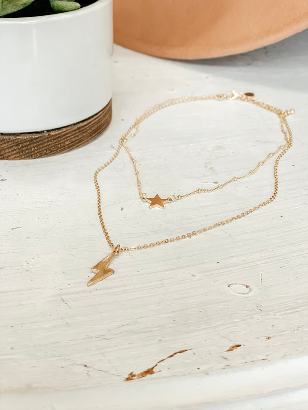 Lightning & Star Layer Choker - Shop Amour Boutique Online