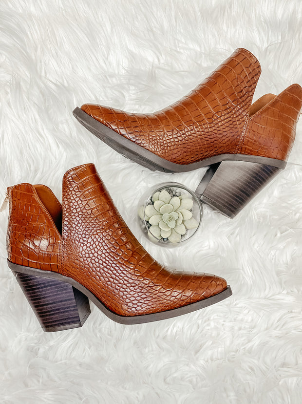 Upstream Ankle Bootie: Brown Croc