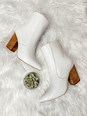 Tory White Croc Printed Bootie