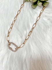 Paved Crystal Caribiner Necklace