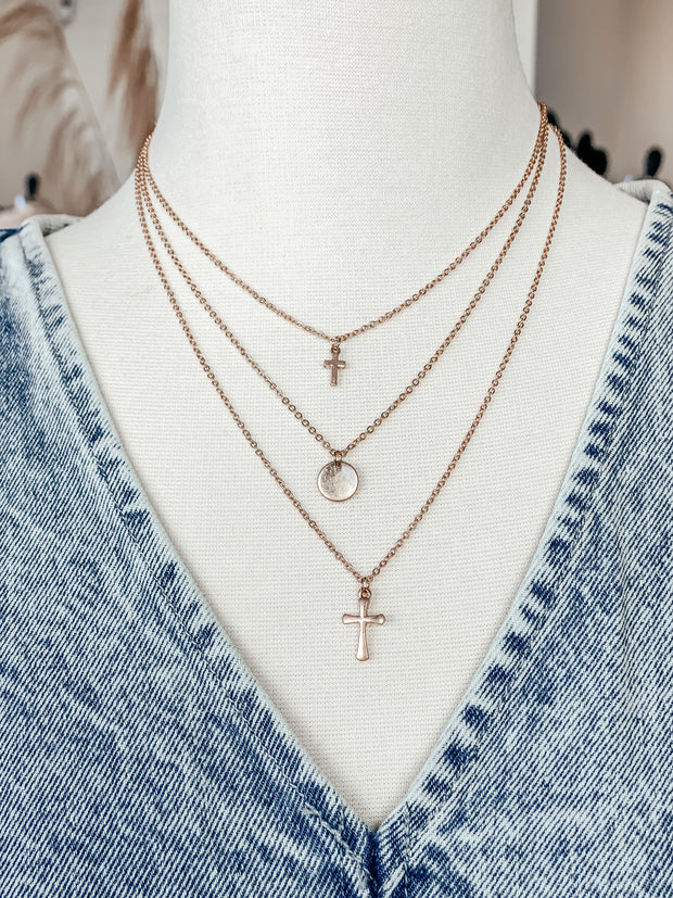 Cross & Disc Layered Necklace Set