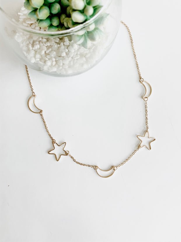 C-Out Star & Crescent Necklace - Shop Amour Boutique Online
