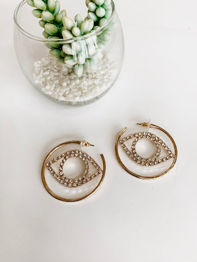 Pave Evil Eye Hoops - Shop Amour Boutique Online