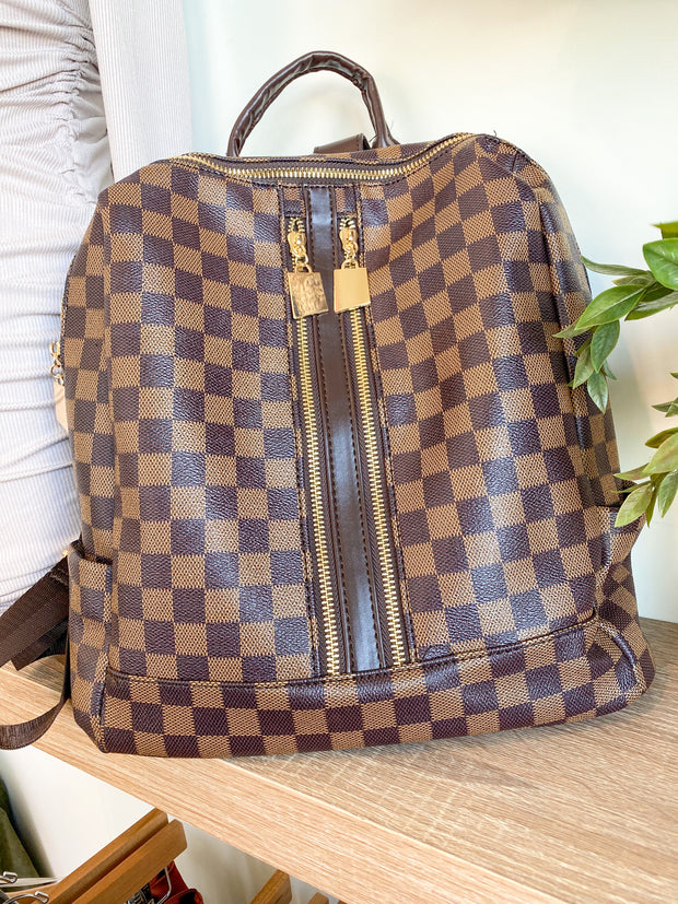 Checkered Backpack: Brown