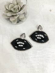 Beaded Lip Earrings: Black - Shop Amour Boutique Online