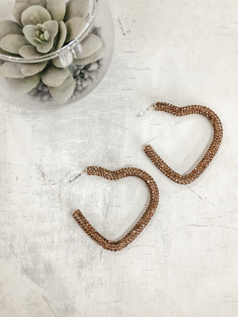 Crystal Pave Heart Hoops: Gold - Shop Amour Boutique Online