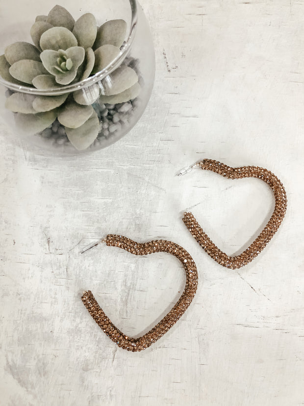 Crystal Pave Heart Hoops: Gold