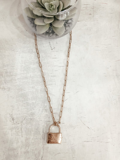 Lock Pendant Necklace - Shop Amour Boutique Online