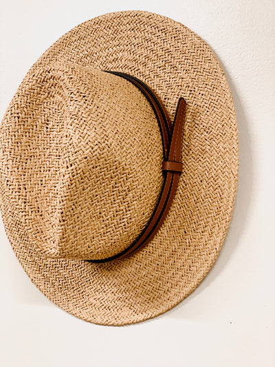 Double Leather Band Panama Hat - Shop Amour Boutique Online