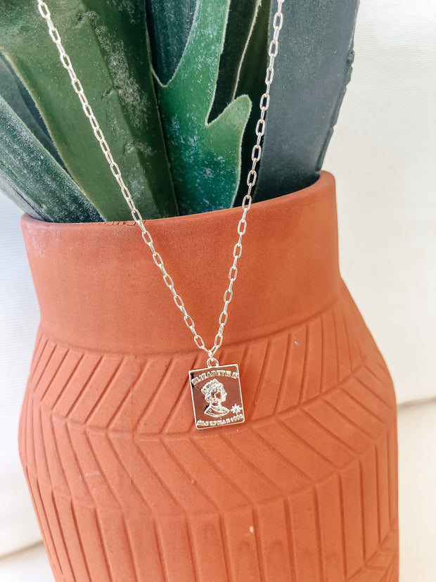 Queen Elizabeth Rectangle Coin Necklace - Shop Amour Boutique Online