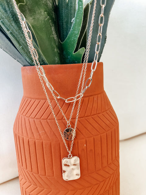 Layered Hammered Coin Pendant Necklace - Shop Amour Boutique Online