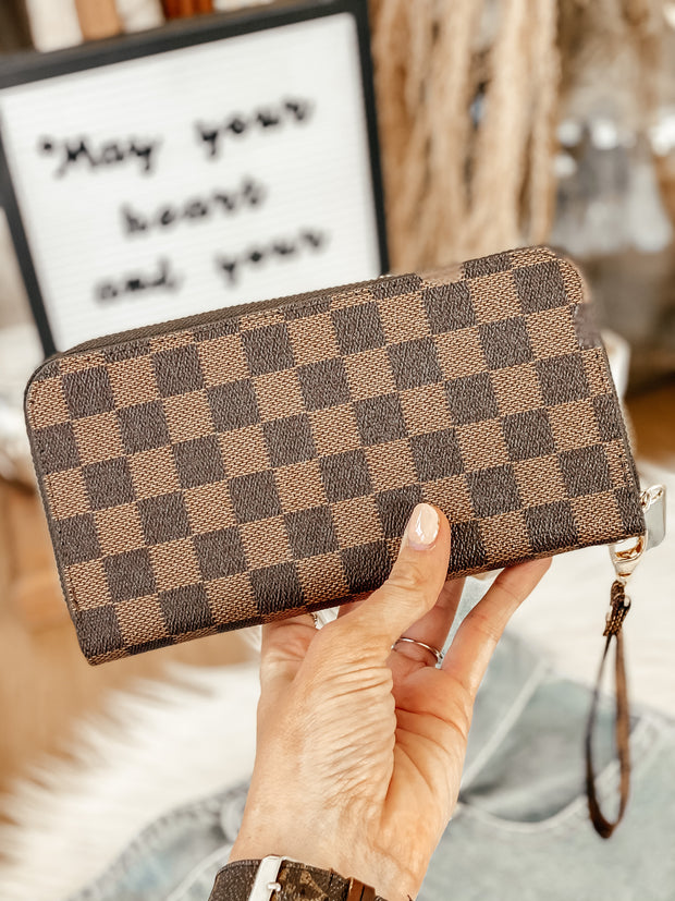 Checkered Wallet: Brown