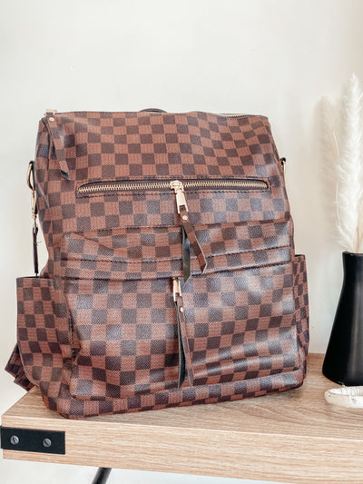 Checkered Backpack/Purse