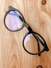 Retro Blue Light Filter Round Glasses: Black - Shop Amour Boutique Online